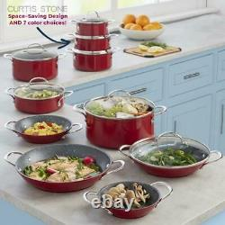 Curtis Stone 17-pièces Dura-pan Non Stick Nesting Cookware Set-cherry Red