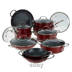 Curtis Stone 17-pièces Dura-pan Non Stick Nesting Cookware Set-cherry Red Nouveau