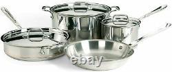 Ensemble D'articles De Cuisine 7 Pièces En Cuivre De Base 6000-7 Ss 5-ply Bonded Dishwasher Coffre-fort