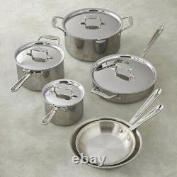 Ensemble D'articles De Cuisine De 11 Pièces Entièrement Plaqués D5 Polissé 5-ply Bonded Dishwasher Coffre-fort