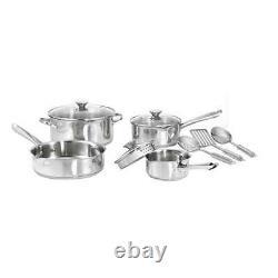 Ensemble D'articles De Cuisine En Acier Inoxydable De 10 Pièces, Pots, Casseroles, Poêles, Argent