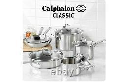 Ensemble D'ustensiles De Cuisine 10 Pièces, Pots Et Casseroles Classiques Calphalon En Acier Inoxydable Nouveau