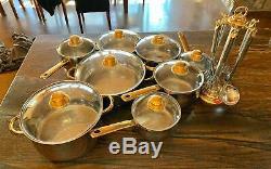 Ensemble De 23 Pièces De Batterie De Cuisine + Ustensiles Cuisine Command Performance Gold 18/10 Gold