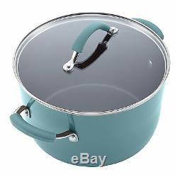 Ensemble De Batterie De Cuisine Antiadhésif En Porcelaine Dure Rachel Ray, 12 Pièces, Bleu Agave Nouveau