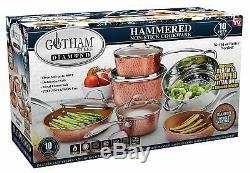 Gotham Steel 10 Piece Martelé Batterie De Cuisine Antiadhésives Cuivre Vu À La Télé! Nouveau