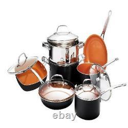 Gotham Steel 12 Pièces Non-adhésif Pots En Céramique Pans Ensemble D'articles De Cuisine Four Safe Seen Tv