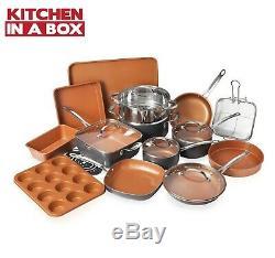 Gotham Steel 20 Piece All In One Cuisine, Batterie De Cuisine Antiadhésives & Set Ustensiles De Cuisson, Nouveau