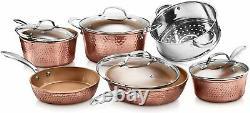Gotham Steel Martelé 10 Piece Copper Cookware Set Poêles À Induction Antiadhésive Casseroles