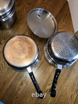 Grand Vtg 21 Piece Saladmaster 18-8 Tri Clad Stainless Steel Cookware Set
