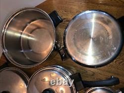 Grandes Casseroles Vtg 21 Piece Saladmaster 18-8 Tri Clad Stainless Steel Cookware Set