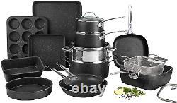 Granite Stone Pot Pan Set Cuisine Cookware Bakeware Antistick 20 Piece 7081 Nouveau