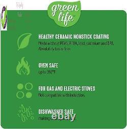 Greenlife Soft Grip Santé Antiadhésif, Casseroles Et Casseroles, 16 Pièces, Épingle