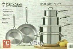 Henckels Intl ' 10 Pièces Clad Tri-ply En Acier Inoxydable Batterie De Cuisine Nouveau O / B
