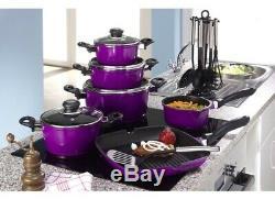Karl Kruger 17 Piece Aluminium Non Stick Batterie De Cuisine, Casseroles Ustensiles Violet
