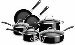 Kitchenaid 10 Pièces En Aluminium Batterie De Cuisine Antiadhésive Onyx Noir