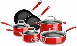 Kitchenaid 10 Pièces En Aluminium Batterie De Cuisine Antiadhésive Rouge Empire
