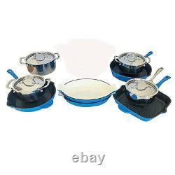 Le Chef 13-piece Cookware Set Enameled Cast Iron, France Blue. En Vente