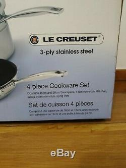 Le Creuset 3 -ply Antiadhésifs En Acier Inoxydable De 4 Pièces Batterie De Cuisine