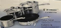 Le Creuset 3 -ply Stainless Steel Anti-stick 4 Piece Cookware Set New