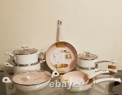 Masterclass Premium Cookware Blanc Avec L'intérieur Rose Ensemble De 13 Pièces Nouveau
