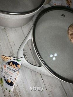 Masterclass Premium Cookware Set 8 Piece Speckled Cream Casserole Plat, Poêle