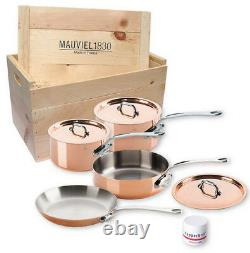 Mauviel M'150s 7 Piece Copper Cookware Set Cast Stainless Handles Wooden Crate