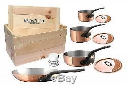 Mauviel M'250c Batterie De Cuisine En Acier Inoxydable De 7 Pièces En Cuivre Moulé Avec Caisse En Bois