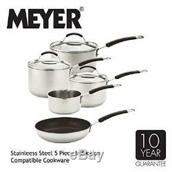 Meyer En Acier Inoxydable À Induction Batterie De Cuisine, 5 Morceaux, D'argent, 50,5 X 33 X 24,5