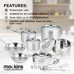 Mockins 15 Pièces De Qualité Supérieure En Acier Inoxydable Ensemble De Cuisine Tri-ply