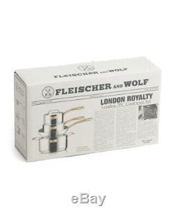 Nib Fleischer Et Wolf Garniture En Laiton London 7 Pièces Tri-ply Batterie De Cuisine