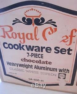 Nos Vtg Royal Chef Batterie De Cuisine En Aluminium Épais Teflon II