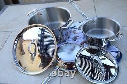 Nouveau $833 All-clad Copper Core 5-piece Cookware Set Pot & Pan Free Ship