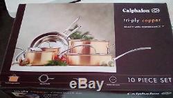 Nouveau Batterie De Cuisine 10 Pièces Calphalon T10 À Trois Couches De Cuivre