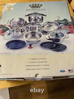 Nouveau Berghaus 17 Piece Cookware Set Surgical Stainless Steel Casseroles Casseroles Casseroles