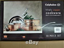 Nouveau Calphalon T10 Tri-ply Cuivre 10 Pièces Batterie De Cuisine En Boîte