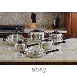Nouveau Extra Lourd Acier Inoxydable Maxam Cookware Set Pots Casseroles Steamer 17 Pièce