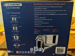 Nouveau Scellé Bnib Le Creuset 3 -ply Antiadhésifs En Acier Inoxydable De 4 Pièces Batterie De Cuisine