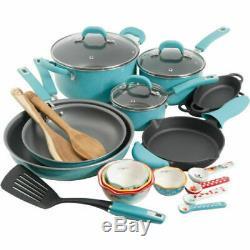 Nouveau The Pioneer Woman Vintage Speckle Set De 24 Casseroles Pour Batterie De Cuisine Pots Turquoises