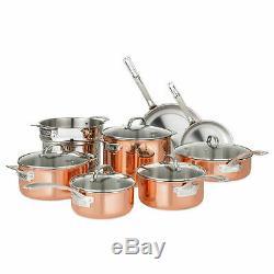 Nouveau Viking 13 Pièces Tri-ply Batterie De Cuisine En Cuivre Durable Set Brown 40571-9993c