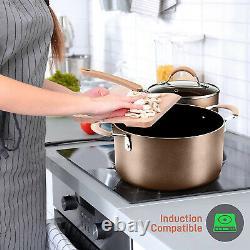 Nutrichef Assiette Cuisine Cuisine Ustensiles De Cuisine Pots Et Casseroles, Ensemble De 14 Pièces, Bronze