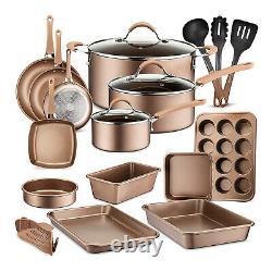 Nutrichef Assiette Cuisine Cuisine Ustensiles De Cuisine Pots Et Casseroles, Ensemble De 20 Pièces, Bronze