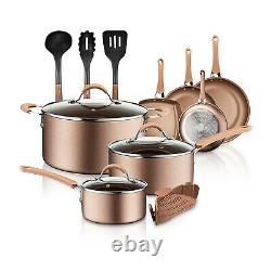 Nutrichef National Cuisine Cuisine Casquettes Casquettes Et Poêles, Ensemble De 14 Pièces, Bronze