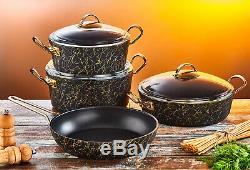 O. M. S Avangarde Granit 9 Pièces Batterie De Cuisine En Verre Couvercles Cocotte Pot 3037