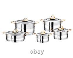 O. M. S Ensemble D'articles De Cuisine En Acier Inoxydable 10 Pièces Stock Pot Capsule Bottom 1019