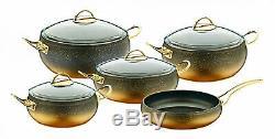 O. M. S. Granite Cuivre 9 Pièces Batterie De Cuisine En Verre Couvercles Cocotte Poêle À Frire Pot