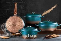 O.m. S Granite Turquoise Cookware Set Glass LID Casserole Pan Pot 7 Pièce 3049