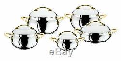 Oms 10 Piece Silver Gold Bowl Forme Batterie De Cuisine Professionnelle Marmite Avec Couvercle