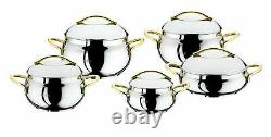 Oms Cookware Silver Gold 10 Piece Bowl Forme Professional Stock Pot Set With LID