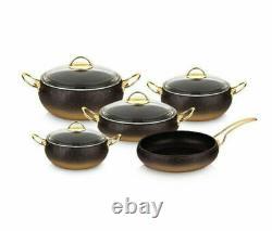 Oms Granite Copper 9 Piece Ustensiles De Cuisine Forme De Forme Verre Couvercles Casserole Casserole Pot