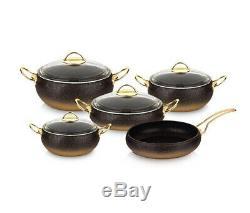 Oms Granite Cuivre 9 Piece Cookware Set Forme De Boule En Verre Couvercles Cocotte Pot